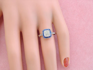 ESTATE ART DECO 1ct CUSHION DIAMOND SAPPHIRE HALO ENGAGEMENT COCKTAIL RING EGL