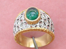 Load image into Gallery viewer, ESTAE 2ct CABOCHON EMERALD .30ctw DIAMOND 18K 2-TONE WIDE BAND ENGRAVED RING sz9