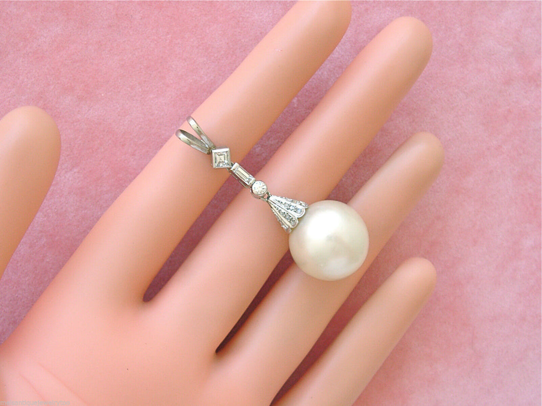 VINTAGE .59ctw MIXED DIAMOND LARGE 16mm SOUTH SEA PEARL 1-13/16