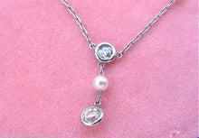 "Load image into Gallery viewer, ART DECO 1.60ctw EURO DIAMOND DROP NATURAL PEARL PLATINUM 18.75"" CHAIN NECKLACE"