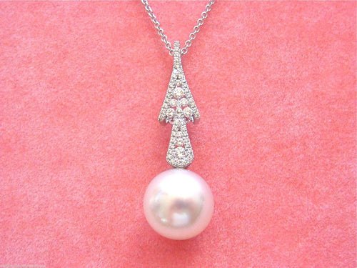 "12mm SOUTH SEA BIG WHITE PEARL DROP .45ctw DIAMOND PENDANT 18"" NECKLACE ITALY"