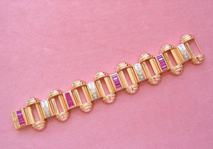 VINTAGE RETRO .50ctw DIAMOND 5.5ctw RUBY PINK 18K 107gr STATEMENT BRACELET 1940