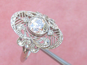 ANTIQUE ART DECO 1.27ct MINE DIAMOND PLATINUM COCKTAIL ENGAGEMENT RING 1930