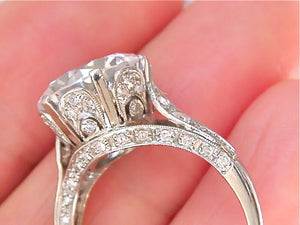 ANTIQUE STYLE .60ct DIAMOND ARCH PLATINUM SOLTIAIRE ENGAGMENT 11mm RING MOUNTING