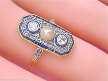 Load image into Gallery viewer, ANTIQUE ART DECO .53ctw DIAMOND .60ctw SAPPHIRE NATURAL PEARL COCKTAIL RING 1930