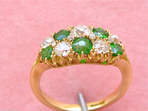 VICTORIAN .70ctw DIAMOND .63ctw GREEN TSAVORITE CLUSTER 18K RING c1880 ENGLISH