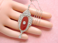 "Load image into Gallery viewer, ANTIQUE ART DECO 1.4ctw DIAMOND CARNELIAN PLATINUM PENDANT 18-5/8"" NECKLACE 1930"
