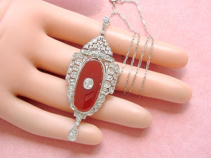 "ANTIQUE ART DECO 1.4ctw DIAMOND CARNELIAN PLATINUM PENDANT 18-5/8"" NECKLACE 1930"