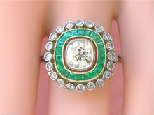 Load image into Gallery viewer, ANTIQUE ART DECO 1.10ct OLD MINE YELLOW DIAMOND EMERALD HALO CUSHION RING 1930