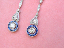 Load image into Gallery viewer, ART DECO 1.43ctw DIAMOND .85ctw SAPPHIRE HALO PLATINUM DANGLE COCKTAIL EARRINGS
