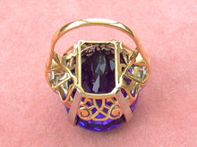 Load image into Gallery viewer, VINTAGE RETRO 28+ CARAT OVAL AMETHSYT .12ctw ROSE DIAMOND BIG COCKTAIL RING 1940
