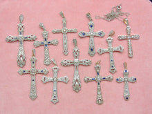 "Load image into Gallery viewer, ANTIQUE ART DECO .18ctw DIAMOND SAPPHIRE PLATINUM 1-3/8"" CROSS PENDANT 1930"