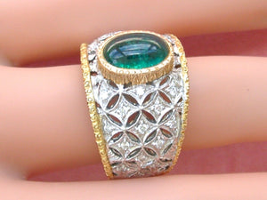 ESTAE 2ct CABOCHON EMERALD .30ctw DIAMOND 18K 2-TONE WIDE BAND ENGRAVED RING sz9