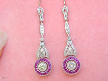 Load image into Gallery viewer, ART DECO 1.36ctw DIAMOND .87ctw RUBY HALO PLATINUM DANGLE COCKTAIL EARRINGS
