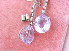 Load image into Gallery viewer, ESTATE .20ctw DIAMOND 20ctw BIG AMETHYST OVAL DROP WHITE 18K COCKTAIL EARRINGS
