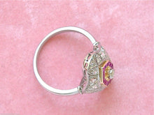 Load image into Gallery viewer, ANTIQUE ART DECO .65ctw DIAMOND .45ctw RUBY PLATINUM 18K COCKTAIL RING 1930