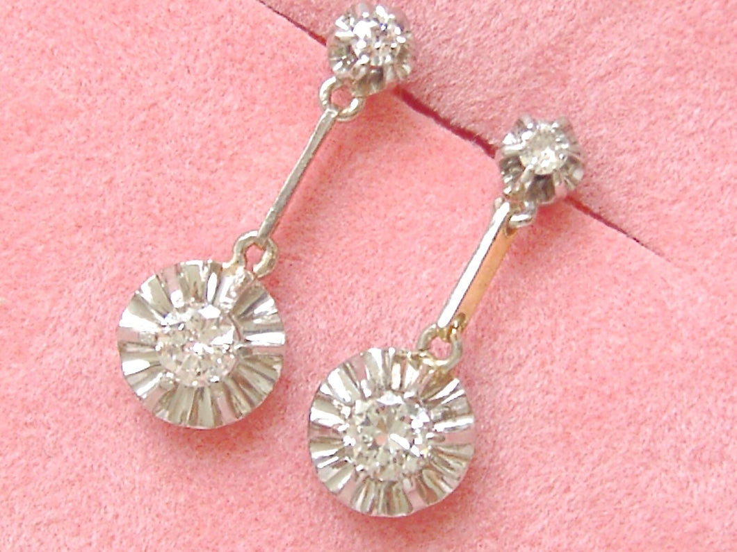 ANTIQUE .5ctw DIAMOND SOLITAIRE 2-STONE STUD DANGLE SMALL EVERYDAY EARRINGS 1930