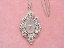 Load image into Gallery viewer, ANTIQUE EDWARDIAN 1.28ctw DIAMOND ROCK CRYSTAL PLATINUM PENDANT NECKLACE 1910