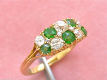 Load image into Gallery viewer, VICTORIAN .70ctw DIAMOND .63ctw GREEN TSAVORITE CLUSTER 18K RING c1880 ENGLISH
