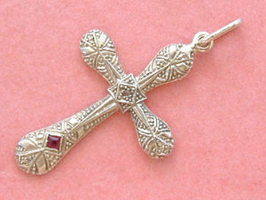 "ANTIQUE ART DECO DIAMOND .08ctw RUBY PLATINUM 18K 1-3/8"" CROSS PENDANT 1930"