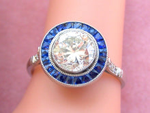 Load image into Gallery viewer, ESTATE DECO 1.48ct TRANSITIONAL DIAMOND SAPPHIRE HALO ENGAGEMENT COCKTAIL RING