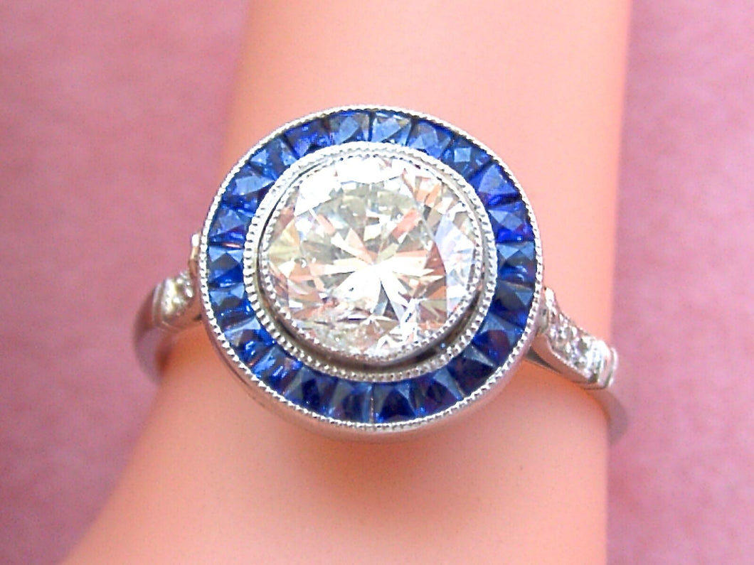 ESTATE DECO 1.48ct TRANSITIONAL DIAMOND SAPPHIRE HALO ENGAGEMENT COCKTAIL RING