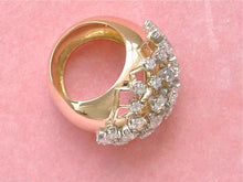 Load image into Gallery viewer, VINTAGE RETRO 2ctw OLD MINE DIAMOND PINK 18K WIDE CONVEX BAND COCKTAIL RING 1940