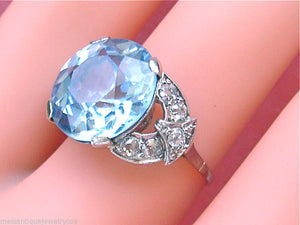 ANTIQUE RETRO .70ctw DIAMOND 13.5mm LIGHT BLUE STONE COCKTAIL RING MOUNTING 1940