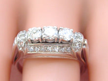 Load image into Gallery viewer, ESTATE ART DECO 1.12ctw DIAMOND TRILOGY TRINITY WHITE 18K 3-STONE RING size 8