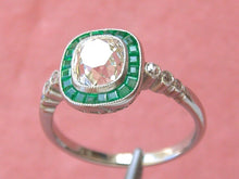 Load image into Gallery viewer, ART DECO 1.62ct CUSHION DIAMOND EMERALD HALO PLATINUM COCKTAIL ENGAGEMENT RING
