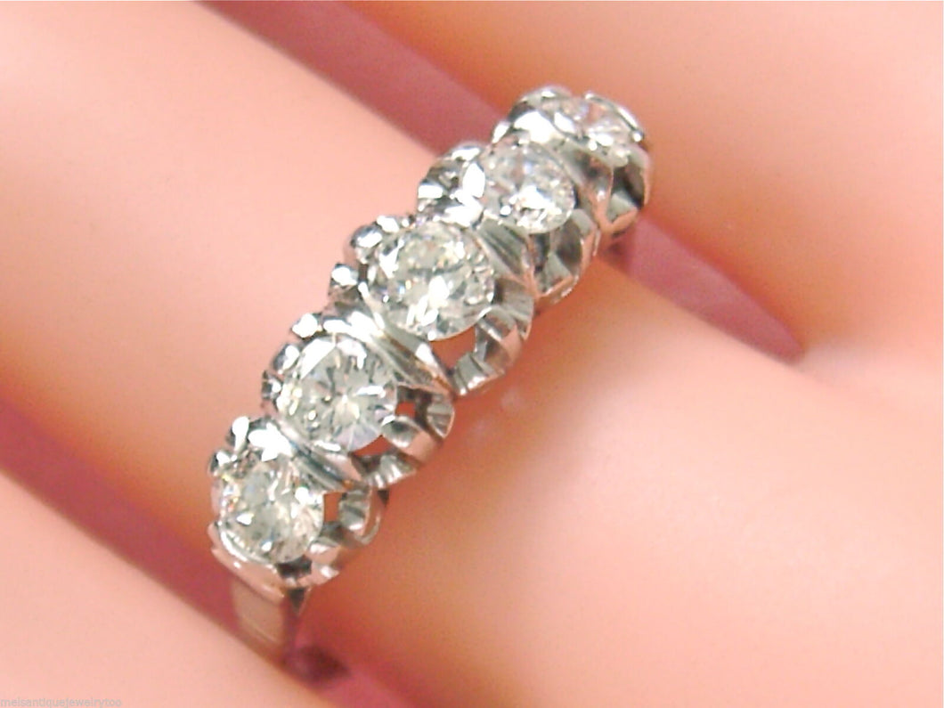 VINTAGE 1ctw OLD TRANSITIONAL DIAMOND PLATINUM CLASSIC 5-STONE RING 1950