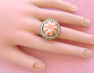 VINTAGE 1ctw DIAMOND ANGEL SKIN CORAL ROPE 18K TALL COCKTAIL RING 1950 UNIQUE!