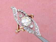 Load image into Gallery viewer, ANTIQUE NOUVEAU 1.11ct MINE DIAMOND PLATINUM 18K ENGAGEMENT COCKTAIL RING c1900