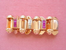 Load image into Gallery viewer, VINTAGE RETRO .50ctw DIAMOND 5.5ctw RUBY PINK 18K 107gr STATEMENT BRACELET 1940
