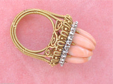 Load image into Gallery viewer, VINTAGE 1ctw DIAMOND ANGEL SKIN CORAL ROPE 18K TALL COCKTAIL RING 1950 UNIQUE!