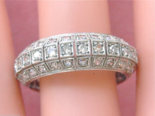 Load image into Gallery viewer, ANTIQUE 2.25ctw DIAMOND 3 ROW PLATINUM MILGRAIN ETERNITY BAND RING 1940 size 11+