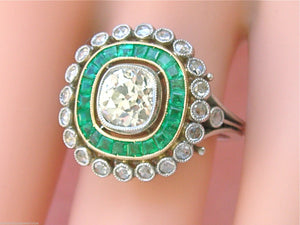 ANTIQUE ART DECO 1.10ct OLD MINE YELLOW DIAMOND EMERALD HALO CUSHION RING 1930