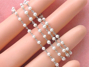 "ANTIQUE STYLE 2.4 - 2.7 mm PEARL PLATINUM 15-3/4"" CHAIN NECKLACE"
