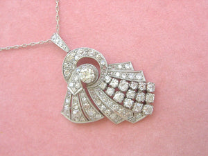 ANTIQUE ART DECO 6.55ctw DIAMOND PLATINUM COCKTAIL NECKLACE & RING SET 1930