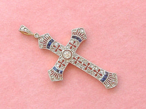 "ANTIQUE ART DECO .18ctw DIAMOND SAPPHIRE PLATINUM 1-3/8"" CROSS PENDANT 1930"