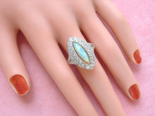 Load image into Gallery viewer, ESTATE EDWARDIAN DIAMOND MARQUISE SHAPED OPAL PLATINUM COCKTAIL RING size 8.25