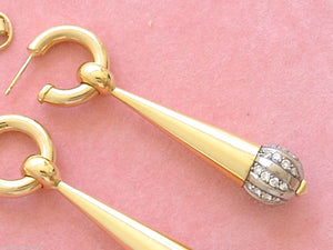 VINTAGE RETRO 2.16ctw DIAMOND BALL HOOP & LONG CONE COCKTAIL EARRINGS 1940 RARE