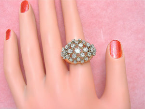 VINTAGE RETRO 2ctw OLD MINE DIAMOND PINK 18K WIDE CONVEX BAND COCKTAIL RING 1940