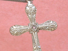 "Load image into Gallery viewer, ANTIQUE ART DECO DIAMOND .08ctw RUBY PLATINUM 18K 1-3/8"" CROSS PENDANT 1930"