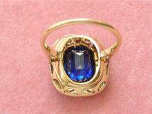 Load image into Gallery viewer, ANTIQUE ART DECO .16ctw ROSE DIAMOND 3.80ct CUSHION SAPPHIRE COCKTAIL RING 1930