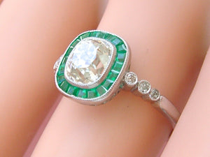 ART DECO 1.62ct CUSHION DIAMOND EMERALD HALO PLATINUM COCKTAIL ENGAGEMENT RING