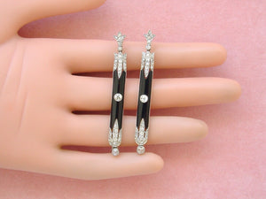 ANTIQUE ART DECO 1.5ctw DIAMOND ONYX PLATINUM STUD DANGLE COCKTAIL EARRINGS 1930