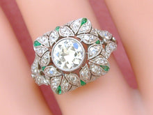 Load image into Gallery viewer, EDWARDIAN to DECO .81ct EURO DIAMOND EMERALD PLATINUM COCKTAIL ENGAGEMENT RING