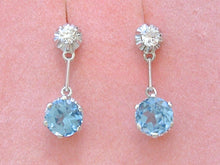 Load image into Gallery viewer, ANTIQUE DECO .26ctw EURO DIAMOND 2 STONE DROP PLATINUM EARRINGS / MOUNTINGS 1930