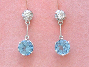 ANTIQUE DECO .26ctw EURO DIAMOND 2 STONE DROP PLATINUM EARRINGS / MOUNTINGS 1930